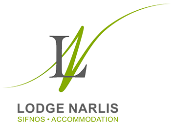 The logo of Lodge Narlis accommodation at Platis Gialos of Sifnos